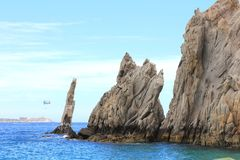 Land's End Cabo San Lucas Neptune's Finger. These beautiful ecological land formations can be found in Mexico's Baja California Sur area. Here the smaller of the royalty free stock photos