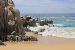 Land's End Cabo San Lucas Pacific. These beautiful ecological land formation can be found in Mexico's Baja California Sur area. Here the Pacific Ocean waves are Stock Images