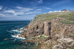 Land`s End, Cornwall on sunny summer day. Dramatic coastline in Cornwall, England Royalty Free Stock Image