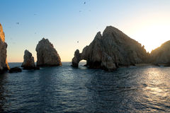 Land's End at Sunset in Cabo San Lucas Royalty Free Stock Photography