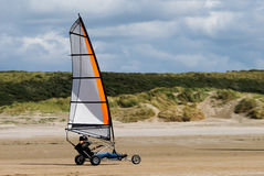 Land sailing on the beach Stock Images