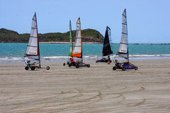 Land sailing on beach Stock Image