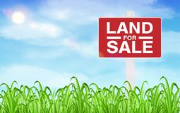 Land sale sign on grass field with sky background. A land sale sign on grass field with sky background Stock Images