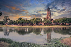 Land scape of ancient and old  pagoda in history temple of Ayuth Stock Photography