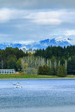 Land scape and natural mountain view point of lake te anau south Royalty Free Stock Image