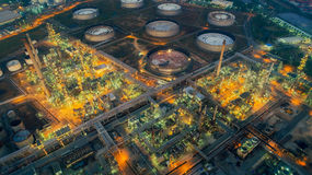 Land scape of Oil refinery plant from bird eye view on night Stock Photography