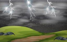 Land scape storm scene. Illustration royalty free illustration