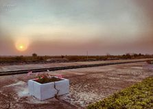 Land scape Sunrise at Train station in Thailand. stock photography