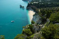 Land and sea and mountains all together here in Gargano National Park Royalty Free Stock Photo