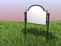 Land sign. 3D render of a sign situated in a field of grass Stock Image