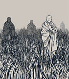 Land of silence. Meditation- illustration Royalty Free Stock Photos