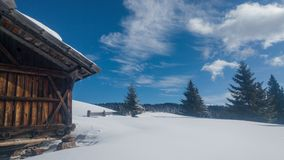 Land of snow with shack Royalty Free Stock Images