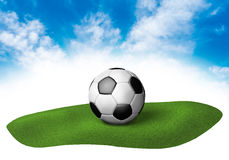 Land with soccer ball in the sky Royalty Free Stock Photos