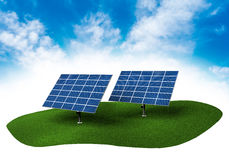 Land with solar panels in the sky. Piece of land in the sky with solar panels Stock Photography