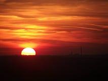 Land-Sonnenuntergang Lizenzfreie Stockfotos