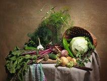 Land-Stillleben mit Gemüse Stockbild
