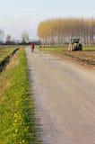 Land-Straße mit einem Radfahrer im Hintergrund Stockfoto
