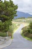 Land-Straße, Tully Cross, Nationalpark Connemara; Grafschaft Galwa Lizenzfreie Stockbilder