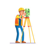 Land survey and civil engineer working. With his equipment. Flat style modern vector illustration Stock Photo
