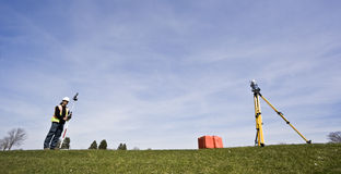 Land Surveying. During the spring Stock Photography