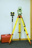 Land surveying and prism. Total station, land surveying and prism - geodetic instrument stock photography