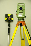Land surveying and prism. Total station, land surveying and prism - geodetic instrument Royalty Free Stock Photo