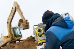 Land surveying with theodolite Stock Photo