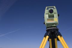 Land Surveying Under Blue Sky stock photography