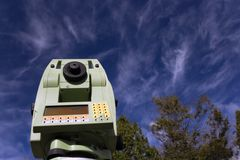 Land Surveying Under Blue Sky royalty free stock image