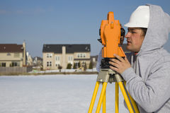 Land surveying during the winter stock photography