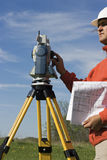 Land Surveyor in the field royalty free stock photography