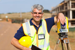 Land surveyor outdoors Royalty Free Stock Images