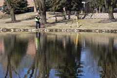 Land Surveyor reflected royalty free stock photography