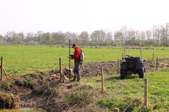 Land surveyor at work with gps Stock Image