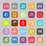 Land transport related line flat icons Royalty Free Stock Images