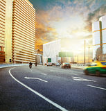 Land transport with sun set urban scene use for city life backgr Stock Photo