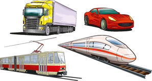 Land transportation. An illustration of several basic types of land transportation Stock Images
