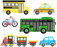 Land Transportation Vector Set Stock Photo