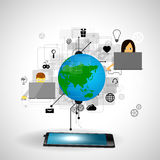 Land und Faltblatt hochladen Dateien über dem Internet Lizenzfreie Stockfotos