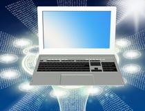 Land und Faltblatt hochladen Dateien über dem Internet globalisierung Stockfoto