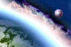 Land und Mond im Weltraum Stockfotografie