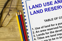 Land use. And and reservation - with index of topic in a cover sheet Stock Photo