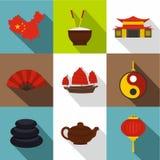 Land van het pictogramreeks van China, vlakke stijl Royalty-vrije Stock Foto