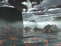 Land volcanic. The prehistorical land volcanic, landscape, illustration 3D, fantasy Stock Images