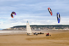 Land yachts and kite buggies on Weston-Super-Mare beach Royalty Free Stock Images