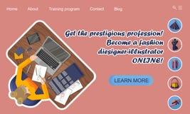 Landa sidadesign utbildning online Utbildande yrkemodeformgivare-illustratör direktanslutet royaltyfri illustrationer