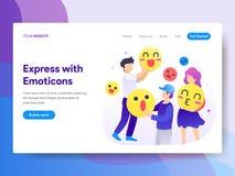 Landa sidamallen av att använda Emoticonsbegrepp r Vec stock illustrationer