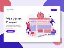 Landa sidamallen av begreppet för illustration för Websitedesignprocess Isometriskt plant designbegrepp av webbsidadesignen för w royaltyfri illustrationer