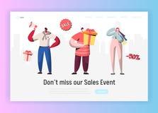 Landa sidamallen av den online-Sale shoppinghändelsen Begrepp för modern design av websiten med folkteckenrabatt vektor illustrationer