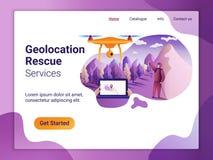 Landa sidamallen av geolocationbegreppet Det plana designbegreppet av webbsidadesignen för en mobil website Surrfluga över royaltyfri illustrationer